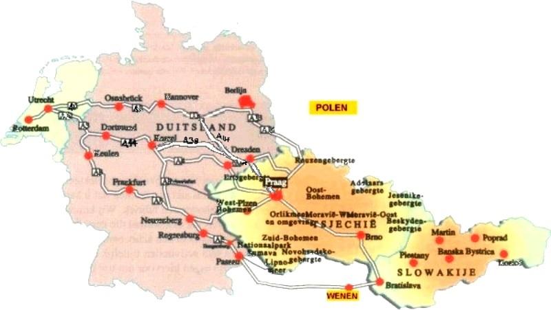 Kaart met route met de auto naar Tsjechië vanuit Nederland, vanuit België