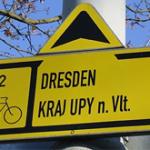 Richtingbordjes, bewegwijzering, fietsers is goed in Tsjechië