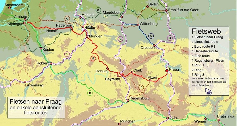 """Route Europafietsers """"Fietsen naar Praag"""". Mozaïek Reizen adviseert en organiseert m.b.t. het Tsjechische traject"""