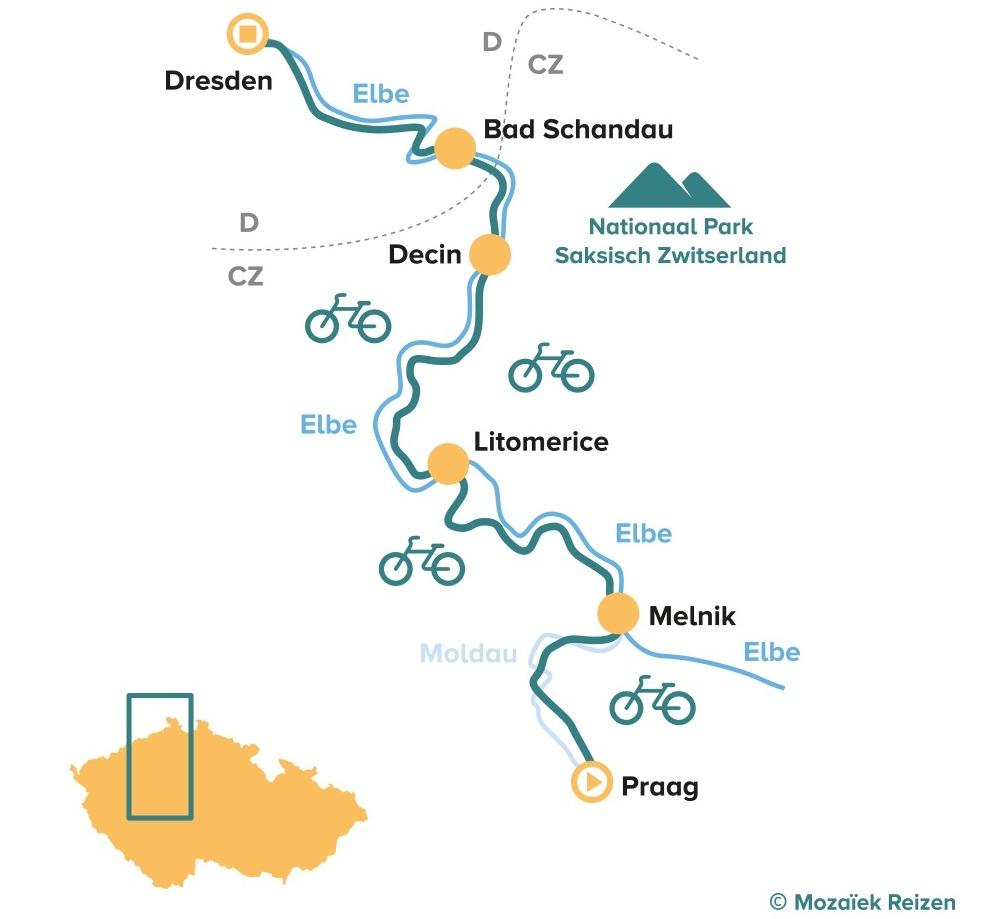 Fietsroute Praag - Dresden langs de Elbe - Elberadweg