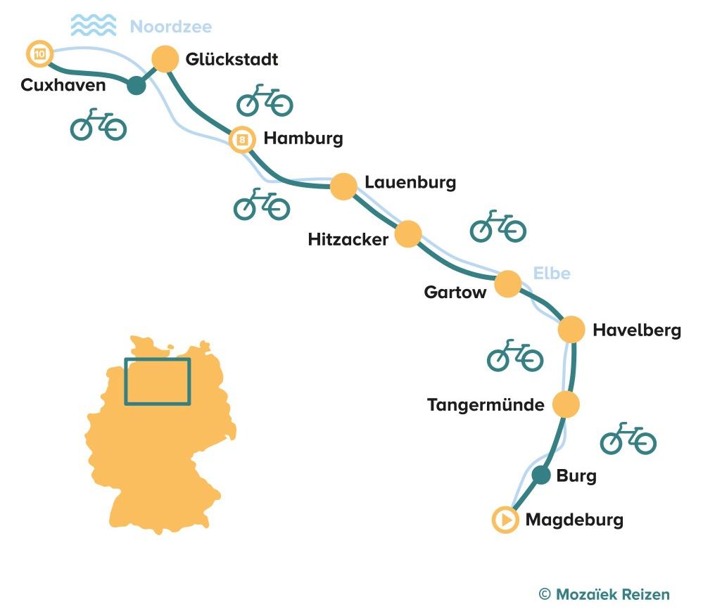 Fietsroute langs de Elbe Magdeburg - Hamburg - Cuxhaven - Duitsland