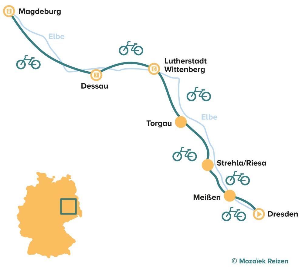 Fietsroute langs de Elbe van Dresden naar Magdeburg - Duitsland