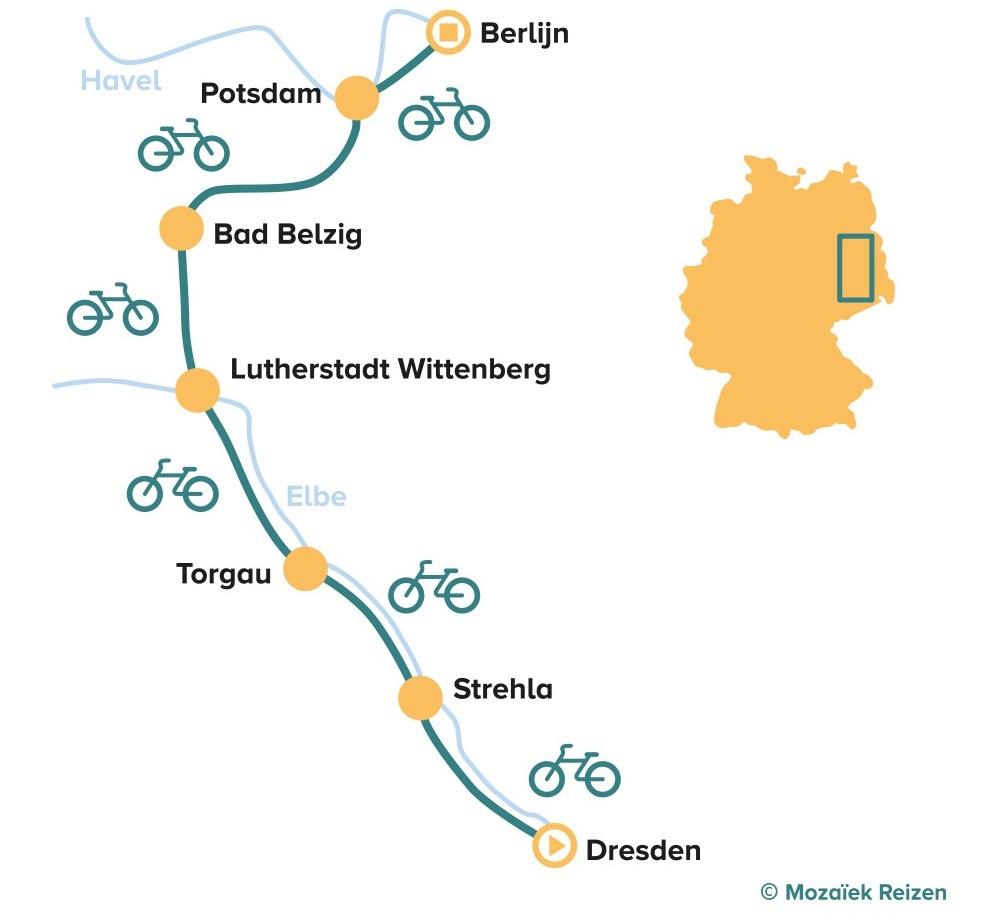 Fietsroute van Dresden naar Berlijn