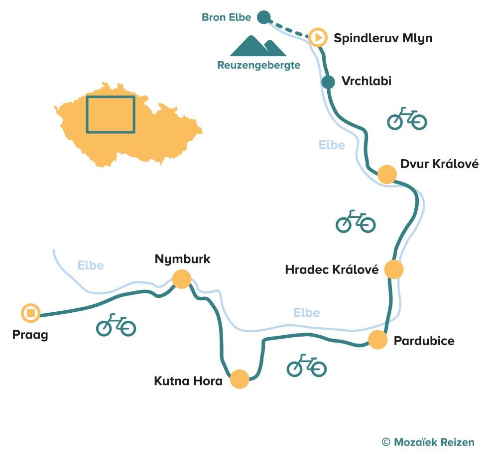 Fietsroute Elberadweg Tsjechië van de bron van de Elbe naar Praag