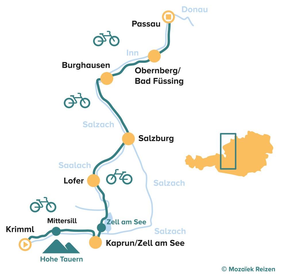 Fietsroute Tauernradweg Krimml - Passau