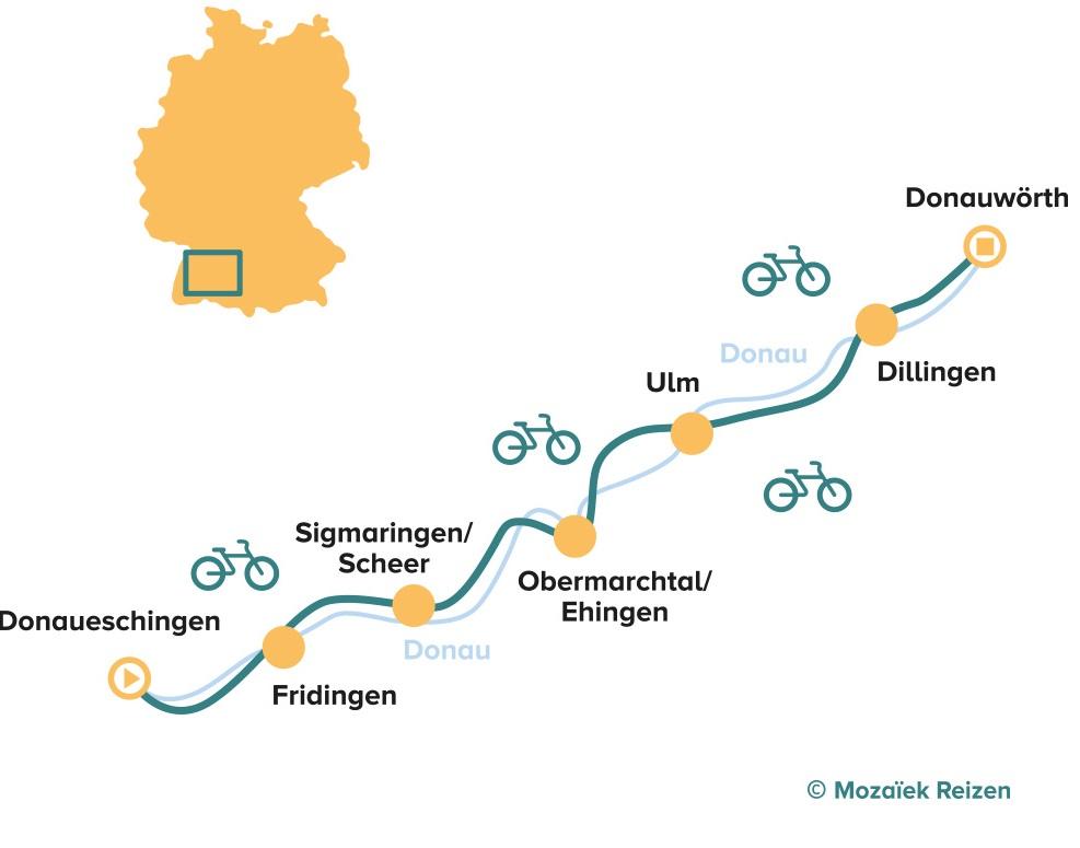 Fietsroute langs de Duitse Donau vanaf de bron (Donaueschingen - Donauwörth)