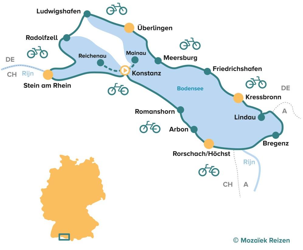 Fietsroute rond de Bodensee 7 dgn klassieke tour