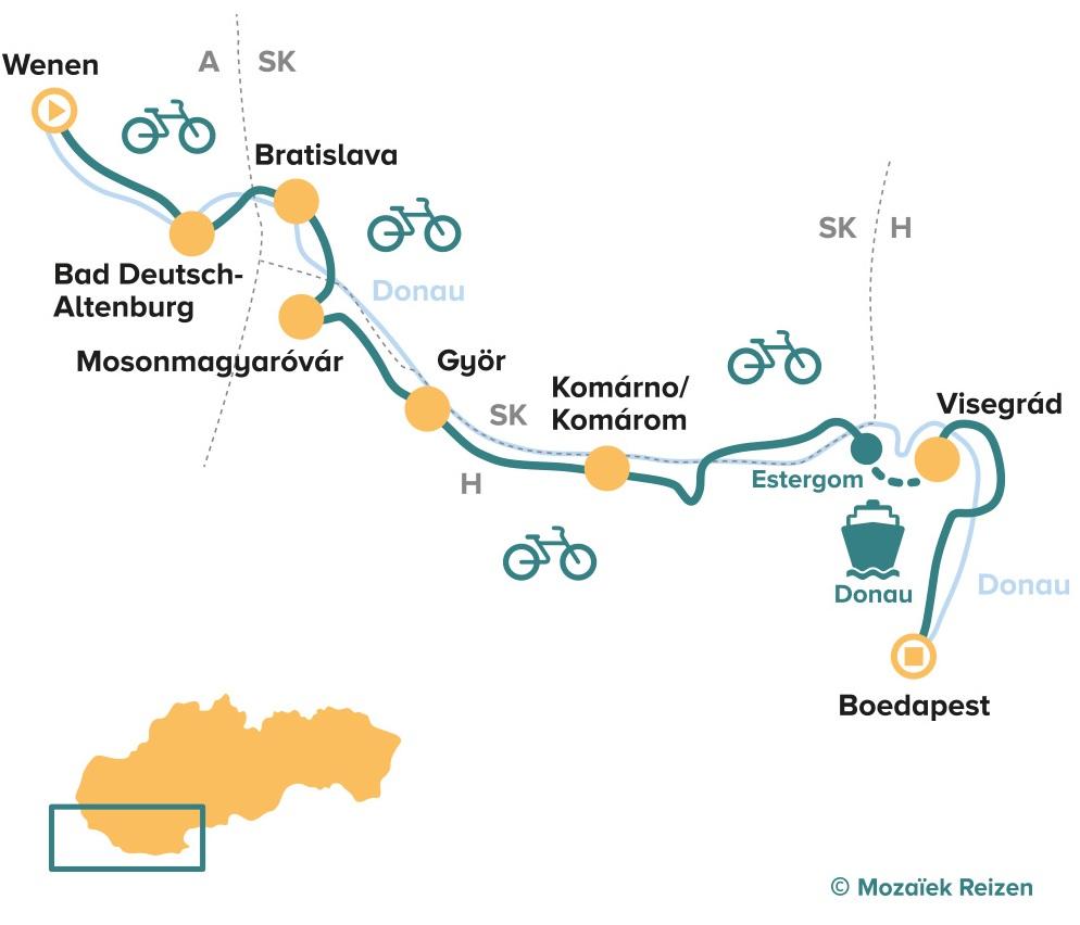 Fietsroute van Wenen naar Boedapest langs de Donau