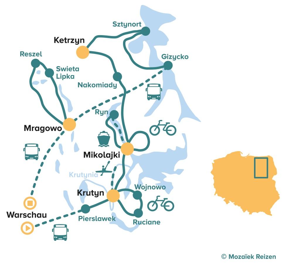 Fietsroute Mazurië - Mazurische Meren - Polen