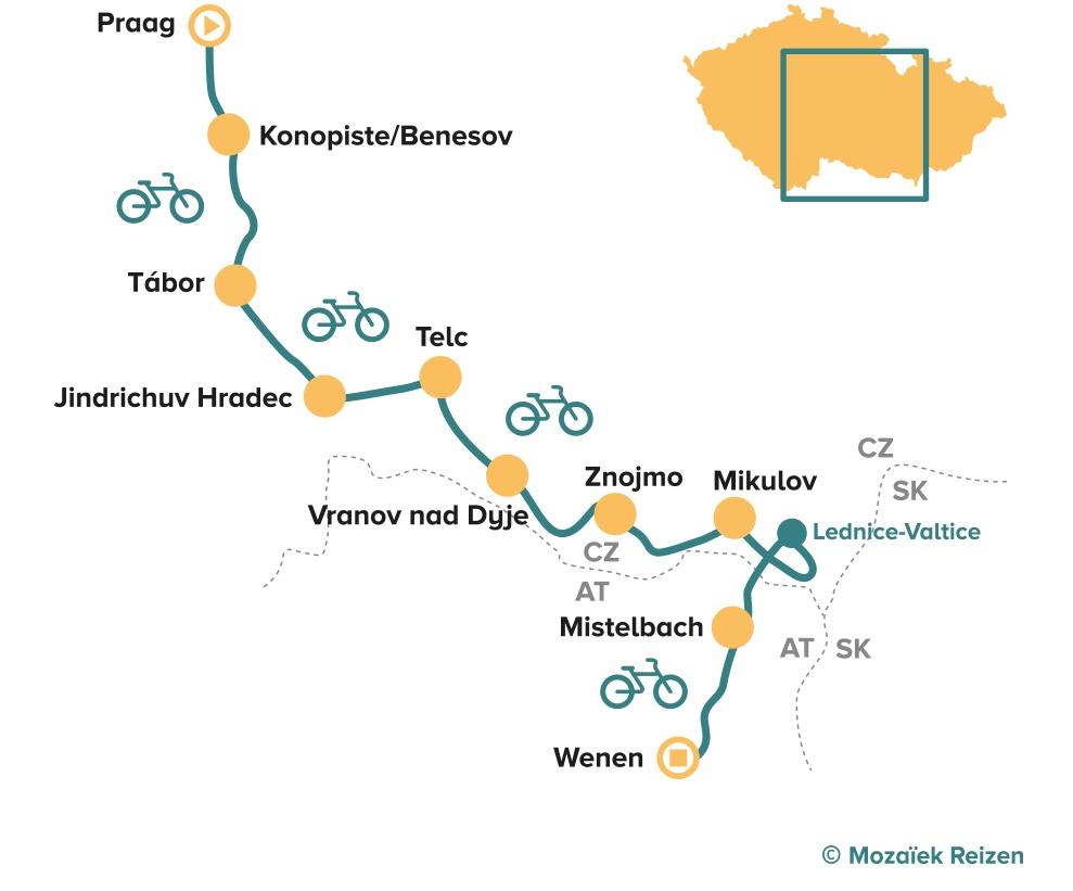 Fietsroute Praag - Wenen Greenways 9 dgn