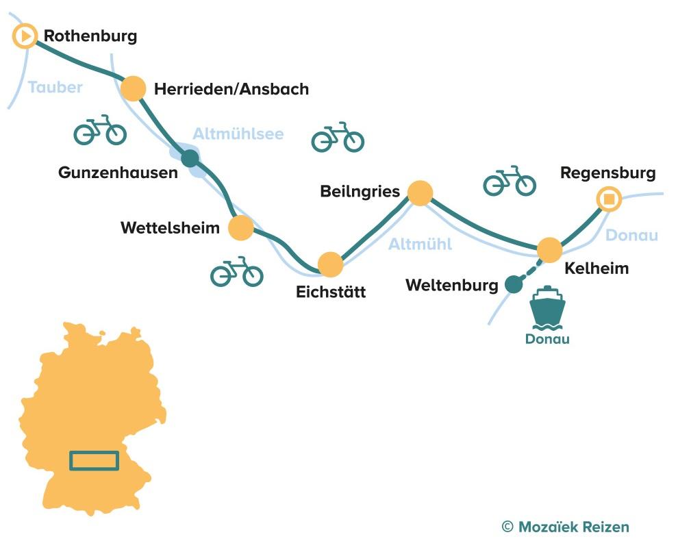 Fietsroute door het Altmühltal - Rothenburg - Regensburg