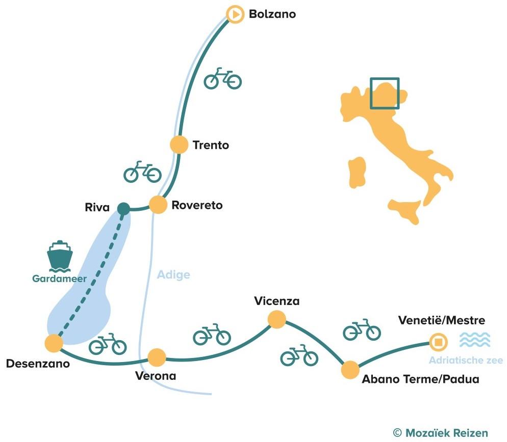 Fietsroute Bolzano - Venetië - Italië