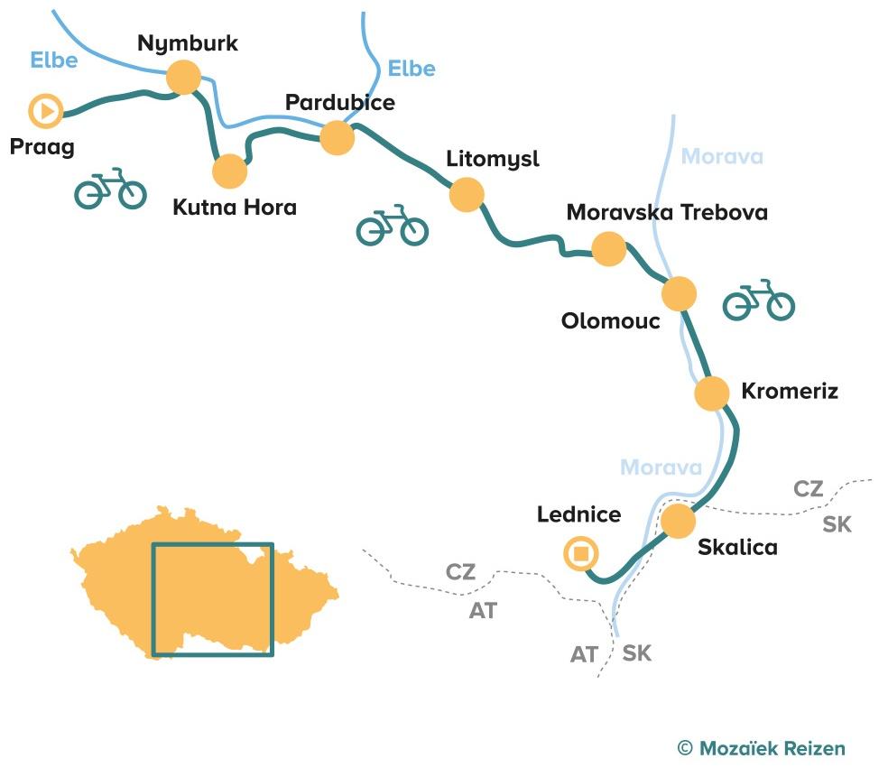 Fietsroute UNESCO fietsreis Tsjechië - Moravië