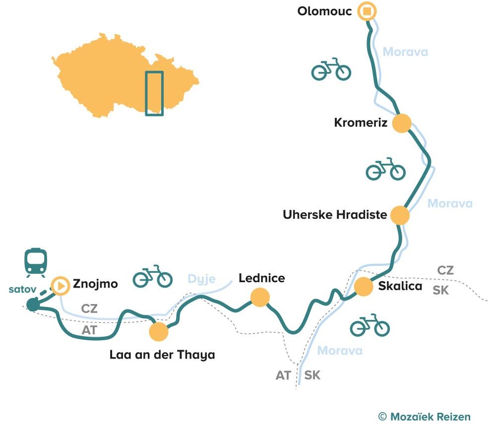 Fietsroute Zuid-Moravië - Tsjechië - Drielandenroute