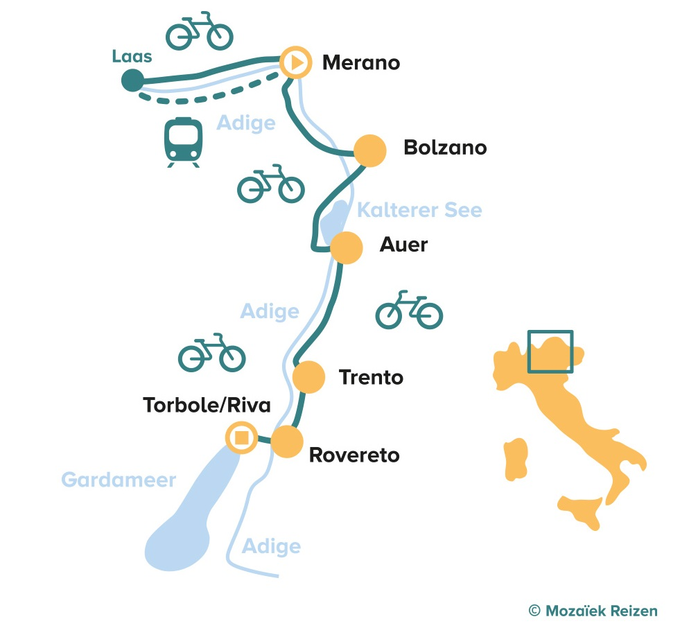 Fietsroute met kinderen van Merano naar het Gardameer - Italië