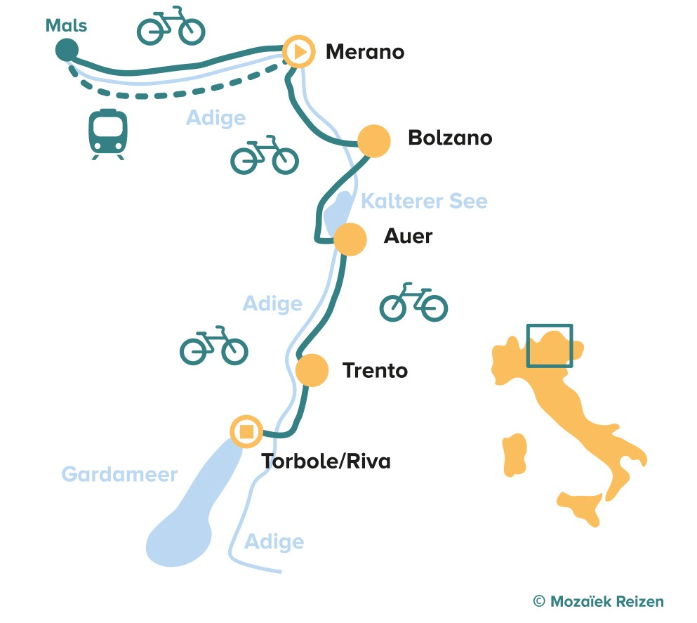 Fietsroute van Merano naar het Gardameer - Italië