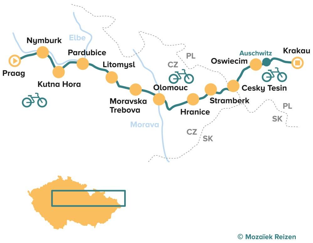 Fietsroute van Praag naar Krakau - 12 dgn