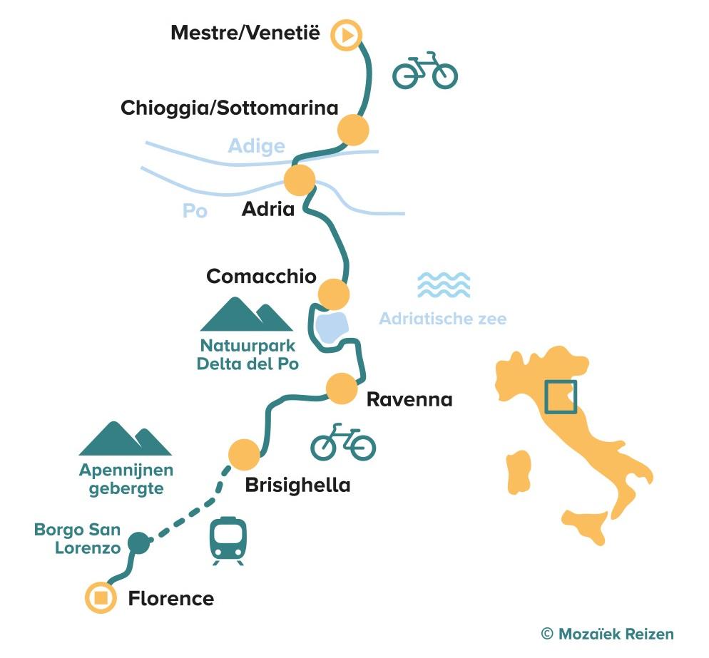 Fietsroute van Venetië naar Florence in Italië