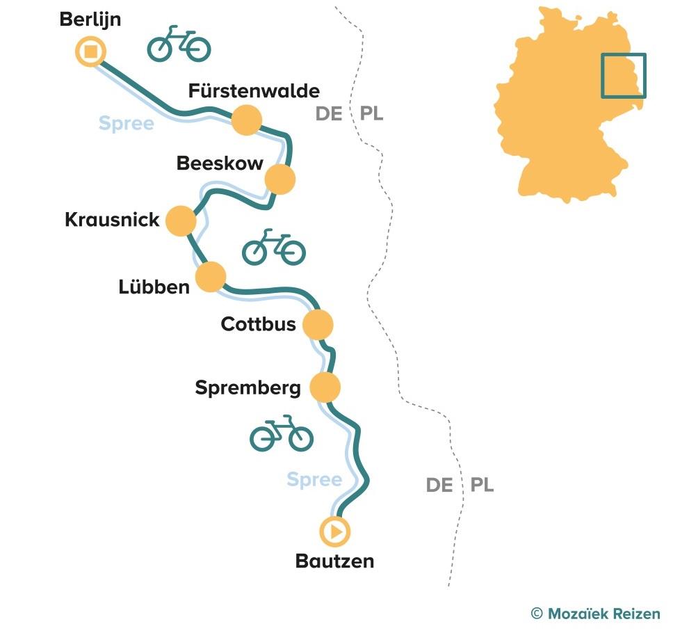 Fietsroute langs de Spree van Bautzen naar Berlijn