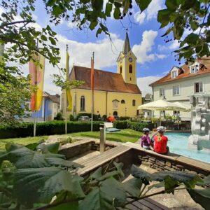 Marbach centrum - fietsvakantie met kinderen Donau Oostenrijk