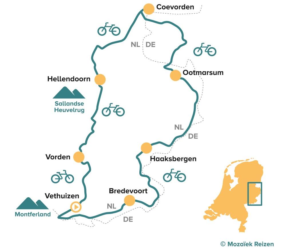 Fietsroute Achterhoek Twente en Salland