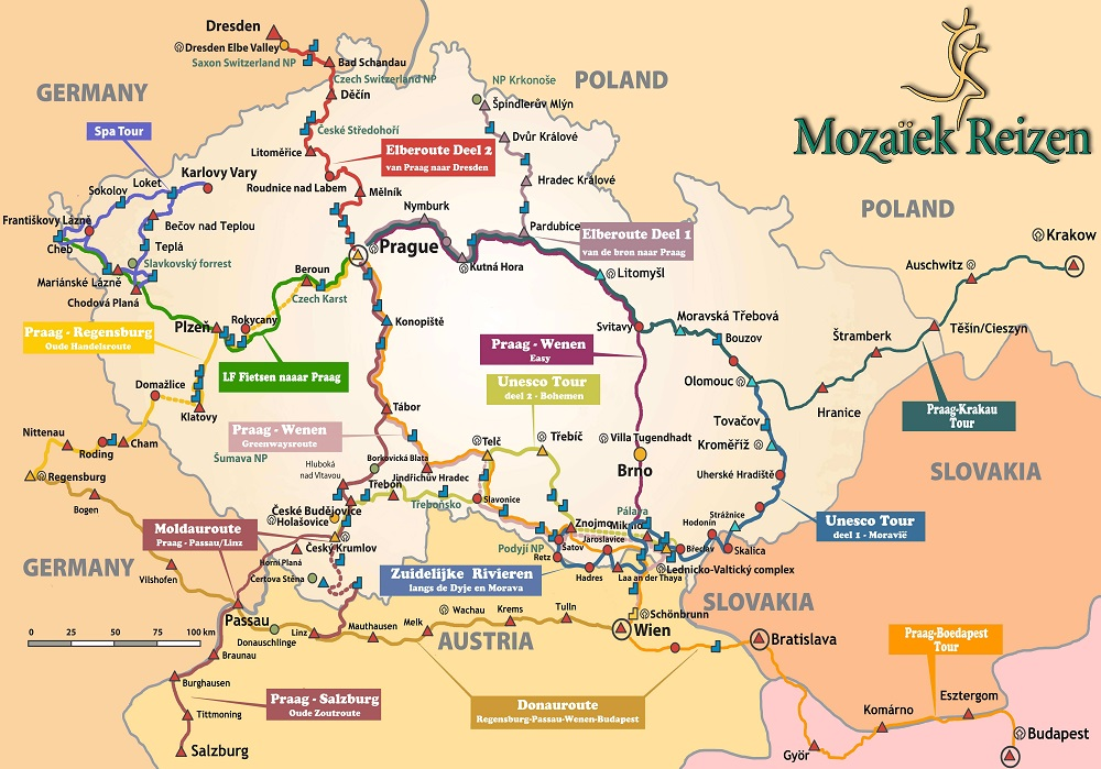 Kaart fietsroutes Tsjechië