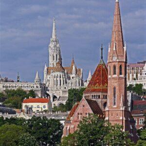 Boedapest Donau Matthias kerk - fietsen van Wenen naar Boedapest